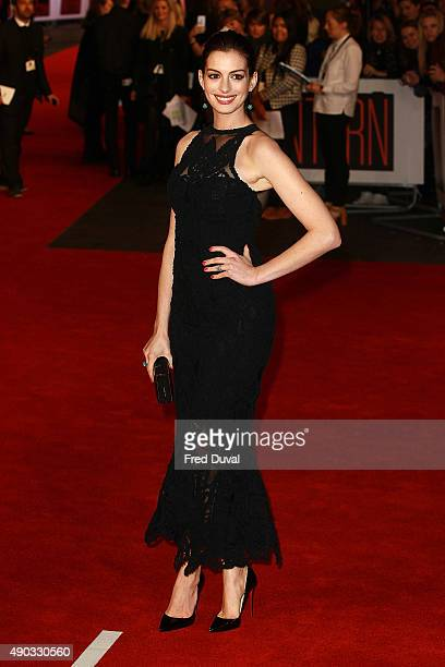 Anne Hathaway attends 'The Intern ' European Premiere at Vue West End on September 27 2015 in London England