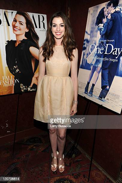 "Anne Hathaway attends the ""One Day"" premiere after party at the Russian Tea Room on August 8, 2011 in New York City."