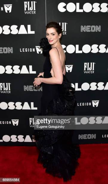 Anne Hathaway attends The Premiere of 'Colossal' CoHosted by FIJI Water at AMC Lincoln Square Theater on March 28 2017 in New York City