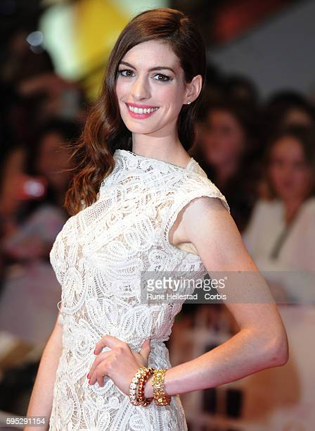 Anne Hathaway attends the premiere of One Day at Westfield
