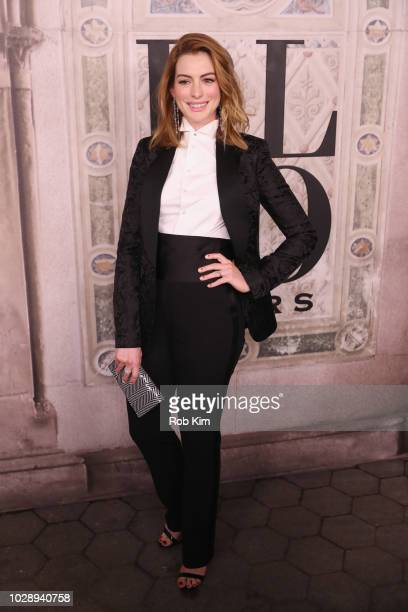Anne Hathaway attends the Ralph Lauren fashion show during New York Fashion Week at Bethesda Terrace on September 7 2018 in New York City