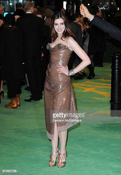 Anne Hathaway attends the Royal World Premiere of Tim Burton's 'Alice In Wonderland' at Odeon Leicester Square on February 25 2010 in London England