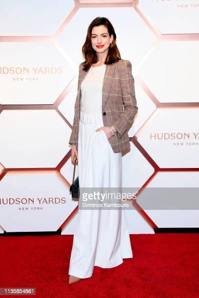 Anne Hathaway attends The Shops & Restaurants at Hudson Yards Preview Celebration – Red Carpet Arrivals on March 14, 2019 in New York City.