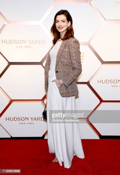 Anne Hathaway attends The Shops Restaurants at Hudson Yards Preview Celebration – Red Carpet Arrivals on March 14 2019 in New York City