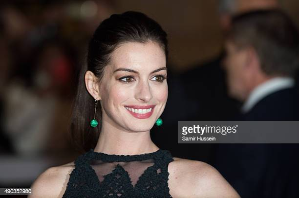 Anne Hathaway attends the UK Premiere of The Intern at Vue West End on September 27 2015 in London England
