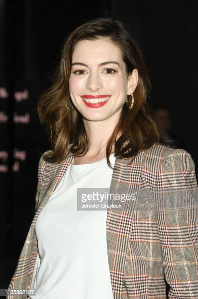Anne Hathaway attends the Watches Of Switzerland Hudson Yards opening on March 14 2019 at Hudson Yards in New York City