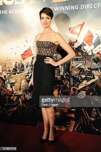 Anne Hathaway attends the world premiere after party for Les Miserables at The Odeon Leicester Square on December 5 2012 in London England