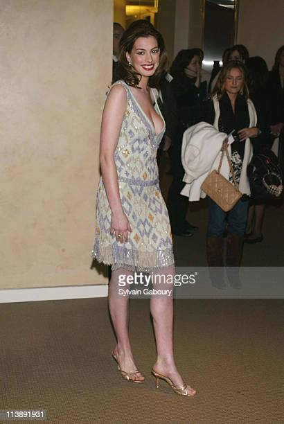 Anne Hathaway during amfAR and ACRIA Honor Herb Ritts for His Work and Activism at Sotheby's in New York New York United States
