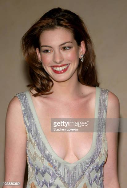 Anne Hathaway during amfAR and ACRIA Honor Herb Ritts with a Sale of Contemporary Artwork at Sotheby's in New York City New York United States