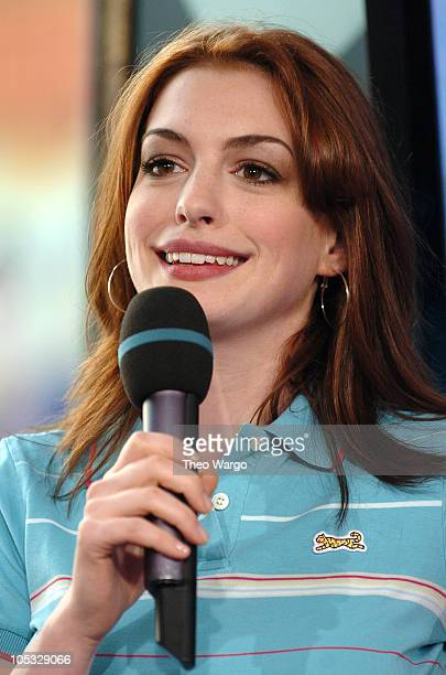 Anne Hathaway during Anne Hathaway and Jet Li Visit MTV's 'TRL' August 10 2004 at MTV Studios Times Square in New York City New York United States