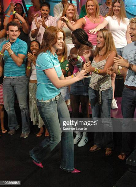 Anne Hathaway during Anne Hathaway and Jet Li Visit MTV's 'TRL' August 10 2004 at MTV Studios in New York City New York United States