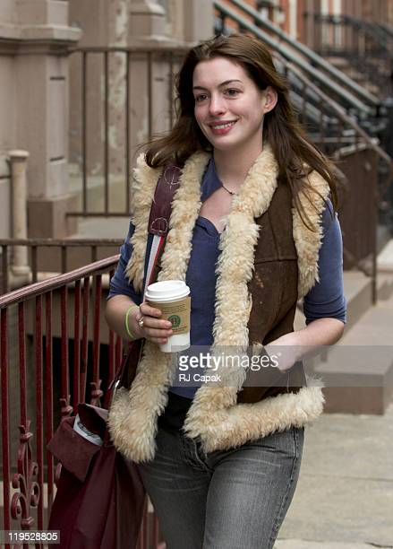 Anne Hathaway during Anne Hathaway Visits the Set of Lindsay Lohan's 'Just My Luck' March 31 2005 at Lower Manhattan in New York City New York United...