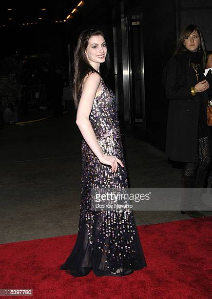 Anne Hathaway during Brokeback Mountain New York City Premiere Outside Arrivals at Loews Lincoln Square in New York City New York United States