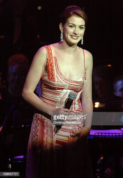 Anne Hathaway during Entertainment Industry Foundation's Colon Cancer Benefit on the QM2 Show at Queen Mary 2 in New York City New York United States