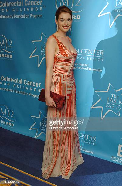 Anne Hathaway during Entertainment Industry Foundation's Colon Cancer Benefit on the QM2 Red Carpet at Queen Mary 2 in New York City New York United...