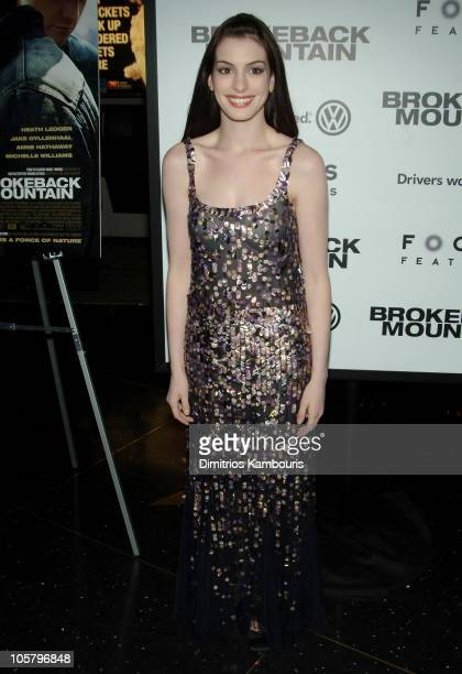Anne Hathaway during Focus Features' Brokeback Mountain New York City Premiere Inside Arrivals at Loews Lincoln Square in New York City New York...