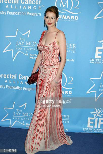 Anne Hathaway during Hollywood Hits Broadway EIF's National Colorectal Cancer Research Alliance fundraiser at Queen Mary 2 Pier 92 in New York New...