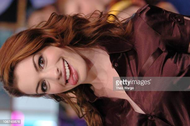 Anne Hathaway during Nick Lachey Anne Hathaway and Ludacris at MTV's 'TRL' High School Week April 6 2004 at MTV Studios Times Square in New York City...