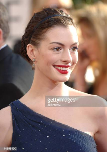 Anne Hathaway during The 63rd Annual Golden Globe Awards Red Carpet at Beverly Hilton Hotel in Beverly Hills California United States