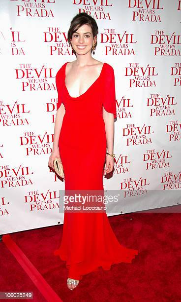 "Anne Hathaway during ""The Devil Wears Prada"" New York Premiere - Arrivals at AMC Loews Lincoln Square in New York City, New York, United States."