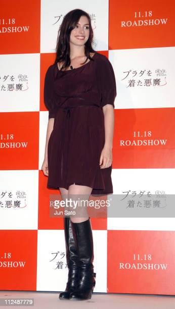 Anne Hathaway during 'The Devil Wears Prada' Tokyo Press Conference with Anne Hathaway at Park Hyatt Tokyo in Tokyo Japan