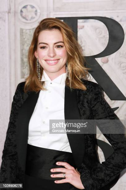 Anne Hathaway during the Ralph Lauren 50th Anniversary September 2018 New York Fashion Week at Bethesda Terrace on September 7 2018 in New York City