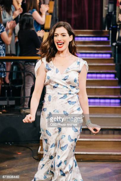 Anne Hathaway greets the crowd during 'The Late Late Show with James Corden' Thursday April 20 2017 On The CBS Television Network