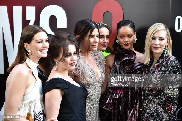 Anne Hathaway Helena Bonham Carter Sandra Bullock Sarah Paulson Rihanna and Cate Blanchett attend the 'Ocean's 8' World Premiere at Alice Tully Hall...