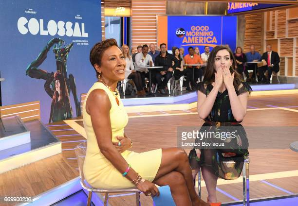 AMERICA Anne Hathaway is a guest on 'Good Morning America' Monday April 17 2017 airing on the ABC Television Network ROBIN