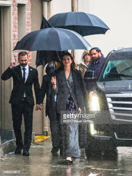 Anne Hathaway is seen arriving at 'Jimmy Kimmel Live' Show on January 14 2019 in Los Angeles California