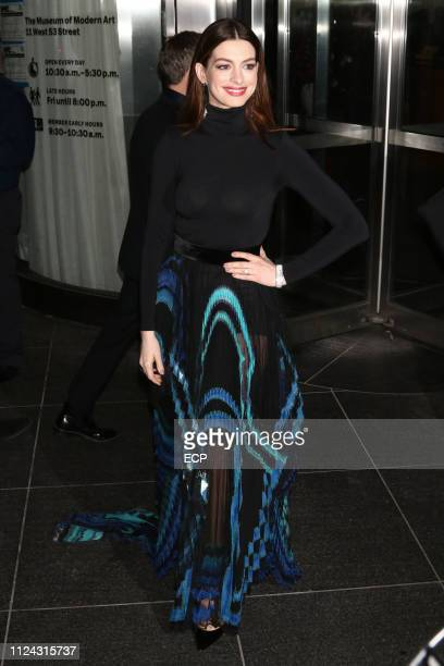"""Anne Hathaway is seen at a screening of """"Serenity"""" held at the MOMA on January 23, 2019 in New York City."""