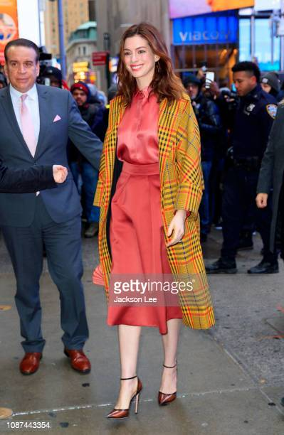 Anne Hathaway is seen at 'Good Morning America' on January 23 2019 in New York City