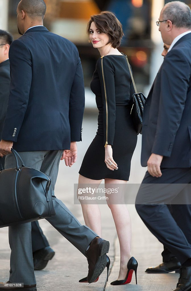 Anne Hathaway is seen at 'Jimmy Kimmel Live' on January 05, 2015 in Los Angeles, California.