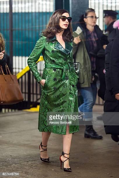 Anne Hathaway is seen filming 'Ocean's ' on December 3 2016 in New York City