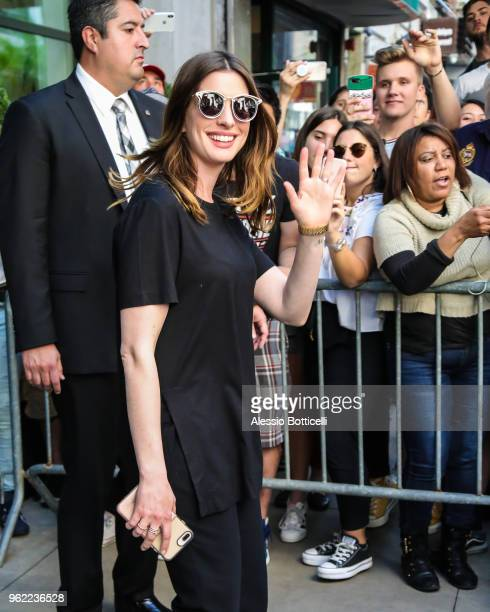 Anne Hathaway is seen leaving her hotel on May 24 2018 in New York New York