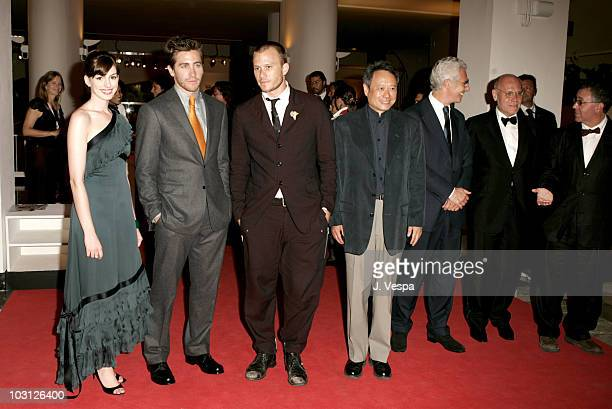 Anne Hathaway Jake Gyllenhaal Heath Ledger Ang Lee Davide Croff and Marco Muller