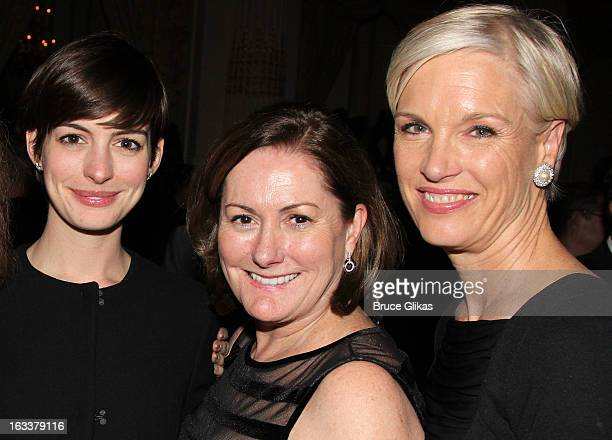 Anne Hathaway Kate McCauley Hathaway and Cecile Richards attend the after party for the opening night of Ann at The Plaza Hotel on March 7 2013 in...