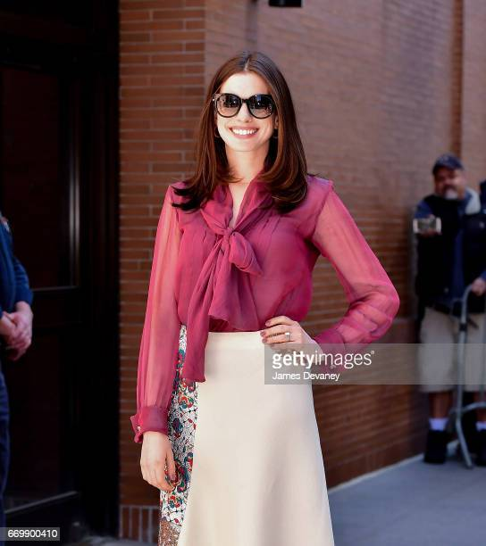 Anne Hathaway leaves ABC's 'The View' on the Upper West Side on April 18 2017 in New York City
