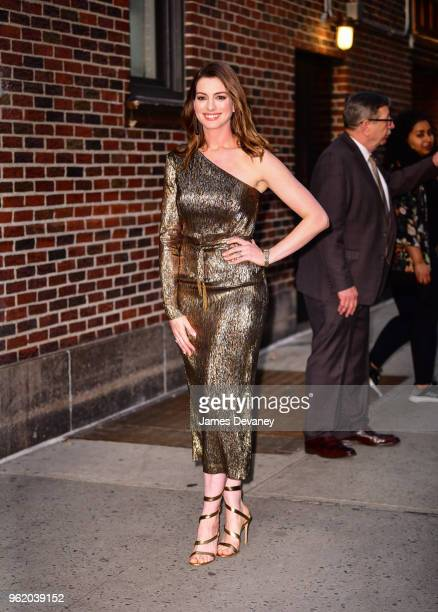 Anne Hathaway leaves 'The Late Show With Stephen Colbert' at the Ed Sullivan Theater on May 23 2018 in New York City