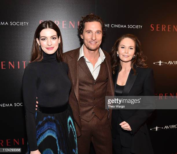"Anne Hathaway, Matthew McConaughey and Diane Lane attend the ""Serenity"" New York Screening at Museum of Modern Art on January 23, 2019 in New York..."