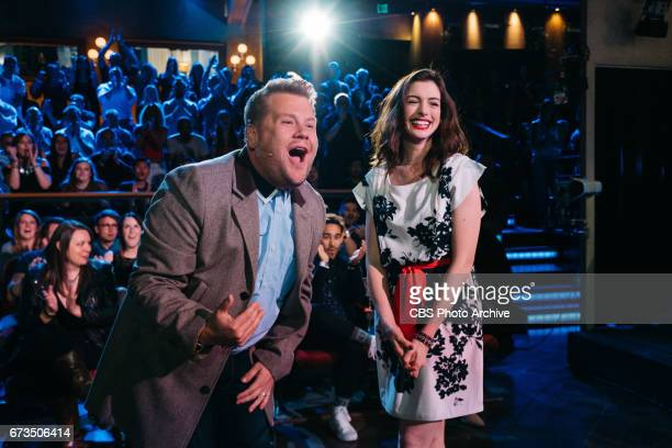 Anne Hathaway performs in Soundtrack to a RomCom with James Corden during The Late Late Show with James Corden Thursday April 20 2017 On The CBS...