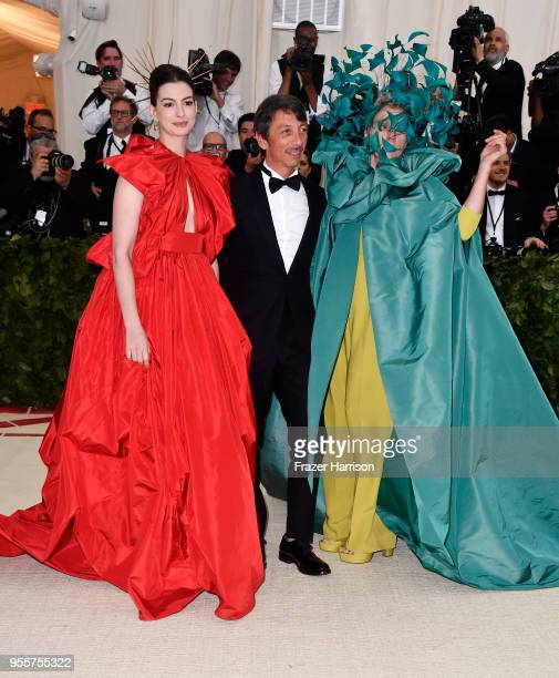 Anne Hathaway Pierpaolo Piccioli and Frances McDormand attend the Heavenly Bodies Fashion The Catholic Imagination Costume Institute Gala at The...