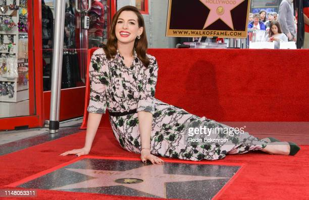 Anne Hathaway poses for portrait at her Star Ceremony On The Hollywood Walk Of Fame on May 09, 2019 in Hollywood, California.