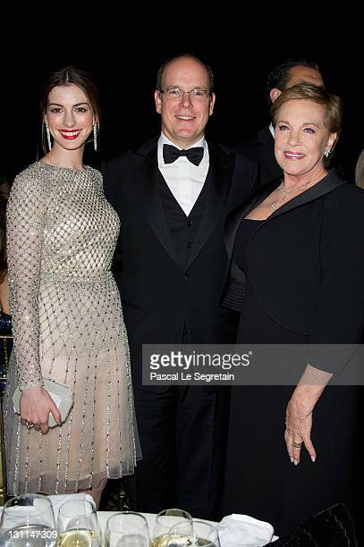 Anne Hathaway Prince Albert II of Monaco and Julie Andrews attend Princess Grace Awards Gala at Cipriani 42nd Street on November 1 2011 in New York...
