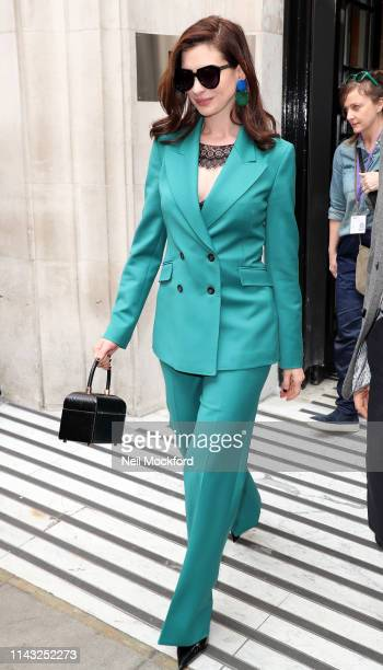 Anne Hathaway seen at BBC Radio 2 on April 17 2019 in London England