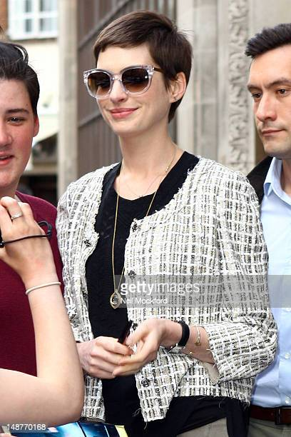 Anne Hathaway seen at BBC Radio One on July 19 2012 in London England
