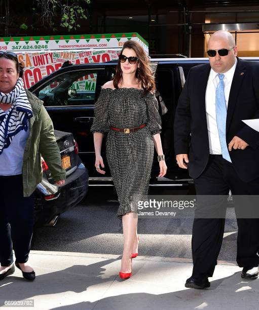 Anne Hathaway seen on the streets of Manhattan on April 18 2017 in New York City