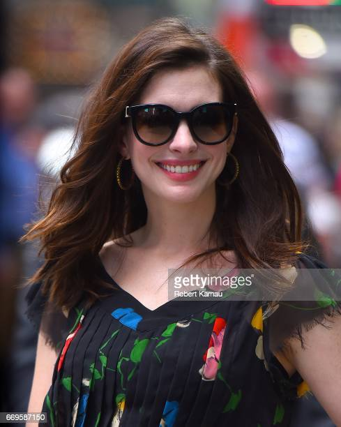 Anne Hathaway seen out in Manhattan on April 17 2017 in New York City