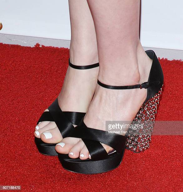 Anne Hathaway shoe detail arrives at the LA Art Show and Los Angeles Fine Art Show's 2016 opening night premiere party benefiting St Jude Children's...