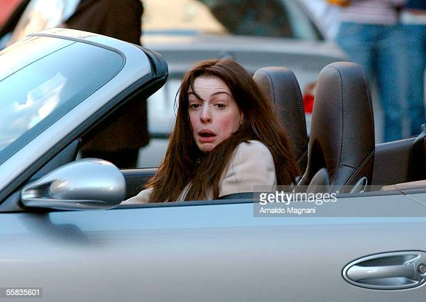 Anne Hathaway shoots a scene for the movie 'The Devil Wears Prada' on Madison Ave on October 1 2005 in New York City